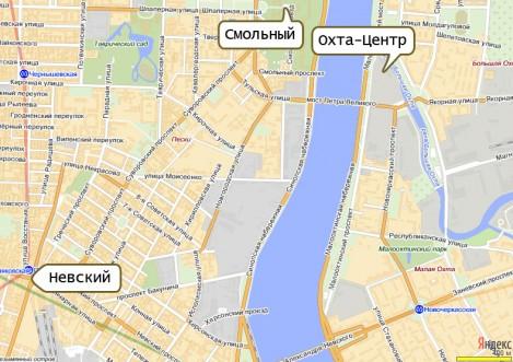 Охта-Центр относительно Смольного собора и Невкого проспекта