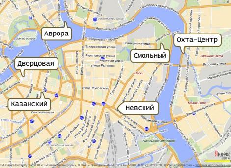 Охта-Центр относительно ближайших достопримечательностей