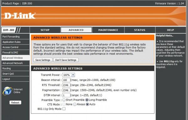 D-Link DIR-300 web-интерфейс