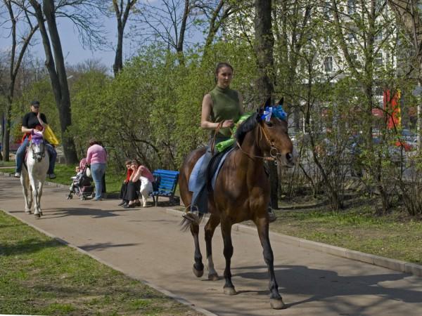 Наездницы в детском парке