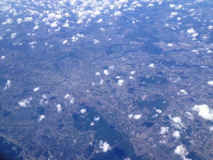 Москва с высоты самолётьего полёта