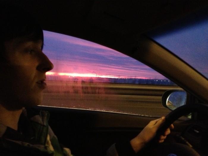 Встречаем рассвет в дороге во Псков