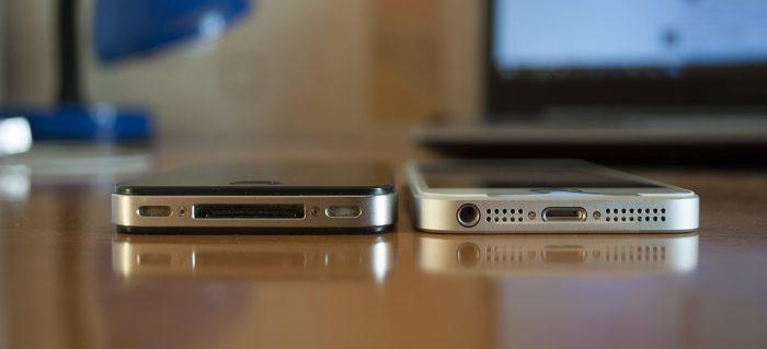 Сравнение толщины iPhone 4s и SE