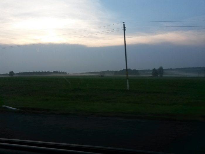 Вечерний туман по дороге в Минск
