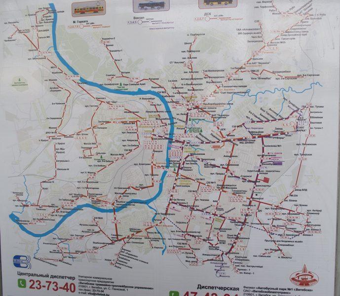 Карта автобусных маршрутов Витебска