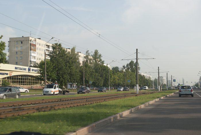 Витебск - трамвайные пути и магазин Витебские продукты