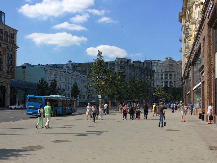 Реконструированная улица Тверская в Москве