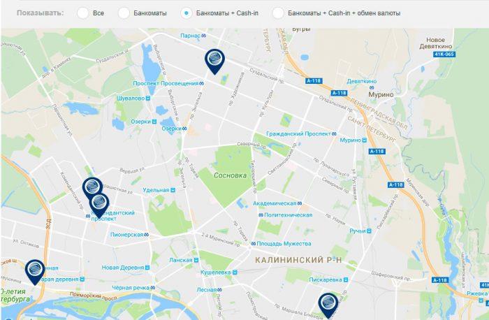 Банкоматы газпромбанка на севере Санкт-Петербурга