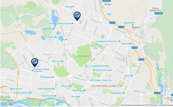 офисы газпромбанка на севере Санкт-Петербурга