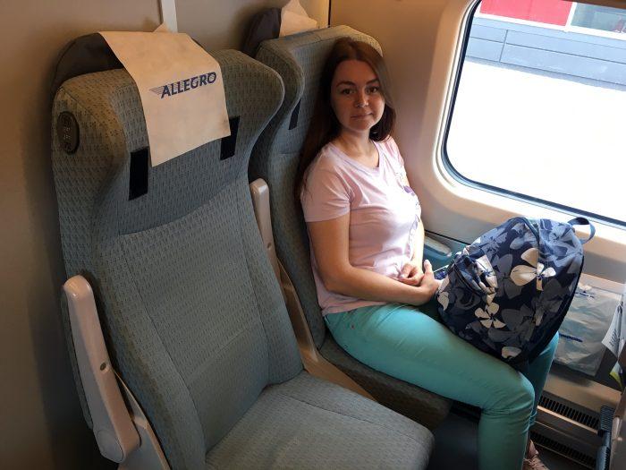 Кресла в поезде Аллегро