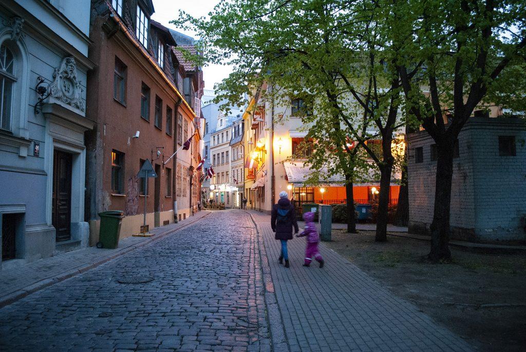 Вечерний центр города Риги