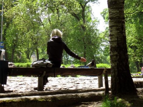 Девушка на скамейке кормит голубя