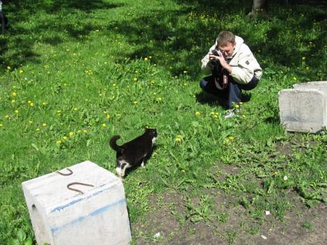 Кот идёт на контакт с Алексеем