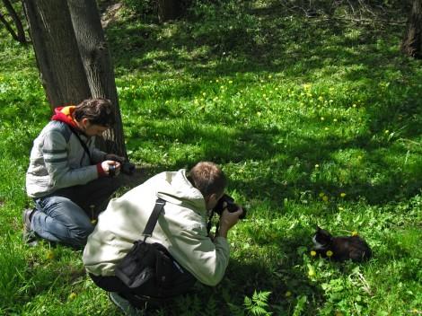 Вадим и Алексей фотографирут кота